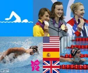 Podium Schwimmen 800 m Stil frei Frauen, Katie Ledecky (USA), Mireia Belmonte (Spanien) und Rebecca Adlington (Vereinigtes Königreich) - London 2012- puzzle
