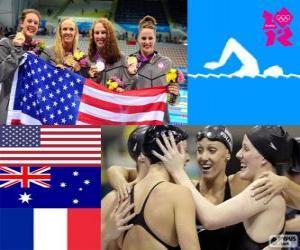 Podium Schwimmen Damen 4 × 200 Meter Freistil staffel, USA, Australien und Frankreich puzzle