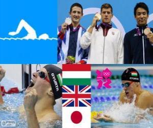 Podium Schwimmen schwimmen 200 m Brust Männer, Daniel Gyurta (Ungarn), Michael Jamieson (Vereinigtes Königreich) und Ryo Tateishi (Japan) - London 2012- puzzle