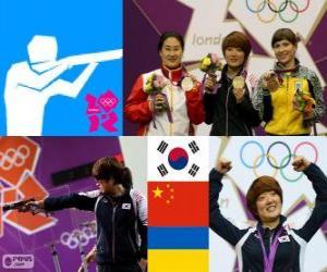 Podium Sportpistole 25 Meter frauen, Kim Jang - mein (Südkorea), Chen Ying (China) und Eric Kostewytsch (Ukraine) - London 2012- puzzle
