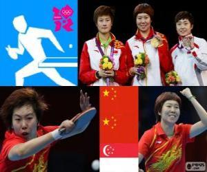 Podium Tischtennis Damen Einzel, Li Xiaoxia, Ding Ning (China) und Feng Tianwei (Singapur) - London 2012 - puzzle
