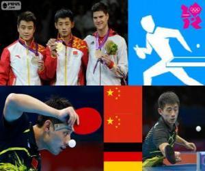 Podium Tischtennis Herren Individuum, Zhang Jike, Wang Hao (China) und Dimitrij Ovtcharov (Deutschland) - London 2012- puzzle