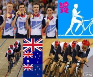Podium Track Verfolgung von Herren 4000m Teams, Vereinigtes Königreich, Australien und Neuseeland - London 2012 - Radfahren puzzle