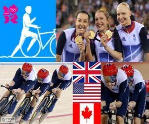 Podium Track Verfolgung von Frauen 4000m Teams, Vereinigtes Königreich, USA und Kanada - London 2012 - Radfahren puzzle