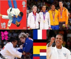 Podium weiblichen Judo - 70 kg, Lucie Decosse (Frankreich), Kerstin Thiele (Deutschland) und Yuri Alvear (Kolumbien), Edith Bosch (Niederlande) - London 2012- puzzle