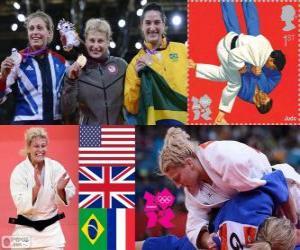Podium weiblichen Judo - 78 kg, Kayla Harrison (Vereinigte Staaten), Gemma Gibbons (Großbritannien) und Mayra Aguiar (Brasilien), Audrey (France) - London 2012 - Tcheumeo puzzle