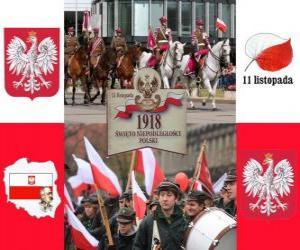 Polnischen Nationalfeiertag, 11. November. Gedenken an die Unabhängigkeit Polens im Jahre 1918 puzzle