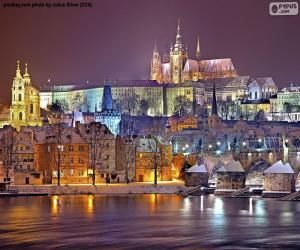 Prag bei Nacht, Tschechische Republik puzzle