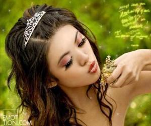 Prinzessin geben a bis ein Frosch küssen puzzle