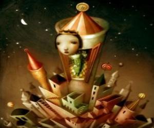 Prinzessin im Turm der Burg puzzle