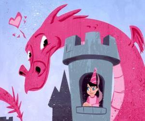 Prinzessin in ihr Schloß von einem großen Drachen sah puzzle