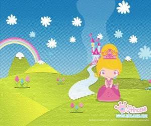 Prinzessin mit dem Schloss im Hintergrund puzzle