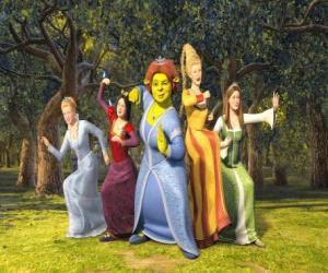 Prinzessinnen Aschenputtel, Schneewittchen, Fiona, Rapunzel und Dornröschen puzzle