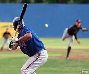 Profi Baseball-Spieler, Schlagmann statt den Teig mit dem Schläger hoch puzzle