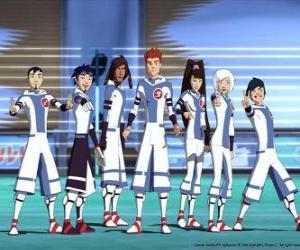 Protagonisten der Abenteuer von galaktischen Fußball, einige der Snow Kids-Team auf dem Planeten Akillian Spieler puzzle