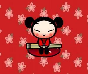 Pucca mit den essttäbchen in einem floralen Hintergrund puzzle