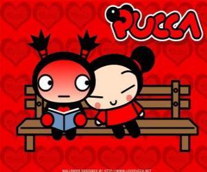 Pucca und Garu sitzen auf einer Parkbank puzzle