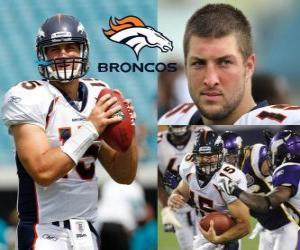 Quarterback Tim Tebow spielte Fußball in der Denver Broncos. puzzle