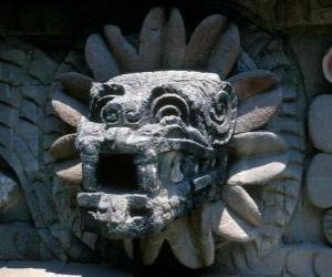Quetzalcoatl, der aztekische Gott des Lebens, die gefiederte Schlange puzzle