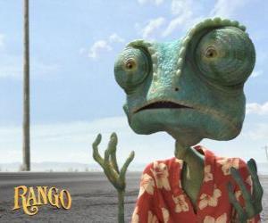 Rango ist ein Haustier Chamäleon, die in einem Terrarium, dass in der Wüste endet lebt puzzle