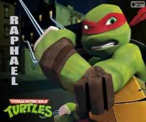Raphael, desto aggressiver Ninja Turtle mit seiner Waffe in der Hand, ein Paar Sai, einem Drei-Punkte-Dolch puzzle