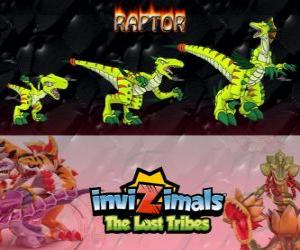 Raptor, neueste Entwicklung. Invizimals Die verlorenen Stämme. Gefährlicher Jäger, das ist schnell, gerissen, aggressiv puzzle