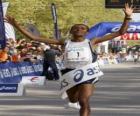 Sportler sieger auf der ziellinie