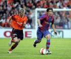 Fußball-spieler (Bojan Krkic F.C.B) den ball fahren