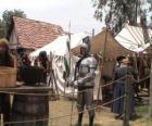 Krijger geschützt mit helm und rüstung und bewaffnet mit einer
