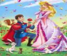 Prinz Philip kniend vor die prinzessin Aurora bei der heiratsantrag