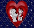 Bären in der liebe mit zwei herzen