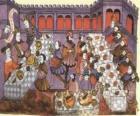 Szene aus einem mittelalterlichen abendessen im salon des schlosses oder burg