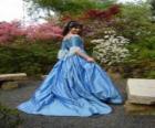 Prinzessin ich spaziergang durch den garten-palast