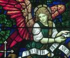 Glasmalerei mit einem Engel