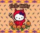 Hello Kitty verkleidet an Halloween
