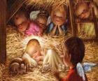 Das Jesuskind in der krippe mit dem schutz eines engels