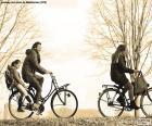 Familie in fahrrad