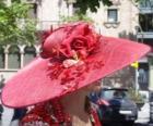 Pamela rot, sind sehr breitkrempigen Hüten von Frauen genutzt