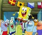 SpongeBob bejubelt von den einwohnern von Bikini Bottom