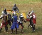 Soldaten im Kampf mit Schwert und Schild