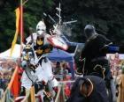 Zwei Ritter zu Pferd Teilnahme an einem Turnier