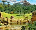 Mehrere Dinosaurier mit einem ausbrechenden Vulkan im Hintergrund