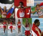 Elvan Abeylegesse im 10000 m-Champion, Inga Abitova und Jessica Augusto (2. und 3.) der Leichtathletik-Europameisterschaft Barcelona 2010