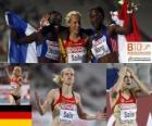 Verena Sailer 100m Champion und Myriam Soumaré Véronique Mang (2. und 3.) der Leichtathletik-Europameisterschaft Barcelona 2010