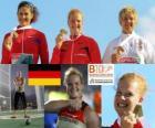 Betty Heidler Meister im Hammerwerfen, Tatjana Lyssenko und Anita Włodarczyk (2. und 3.) der Leichtathletik-Europameisterschaft Barcelona 2010