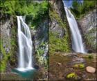 zum Wasserfall von Saut Deth Pisch, zwischen 25 und 30 Meter hoch im Val d'Aran, Katalonien, Spanien.
