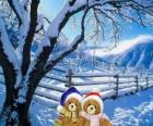 zwei Bären sehr warm in eine weihnachtliche Landschaft