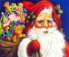 Weihnachtsmann mit einem großen sack voller spielzeug zu geben kinder zu Weihnachten