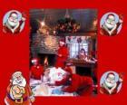 Santa Claus Lesung Briefe von den Kindern hat er zu Weihnachten erhalten