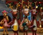 Gruppe feiert Weihnachten Weihnachten Rentier